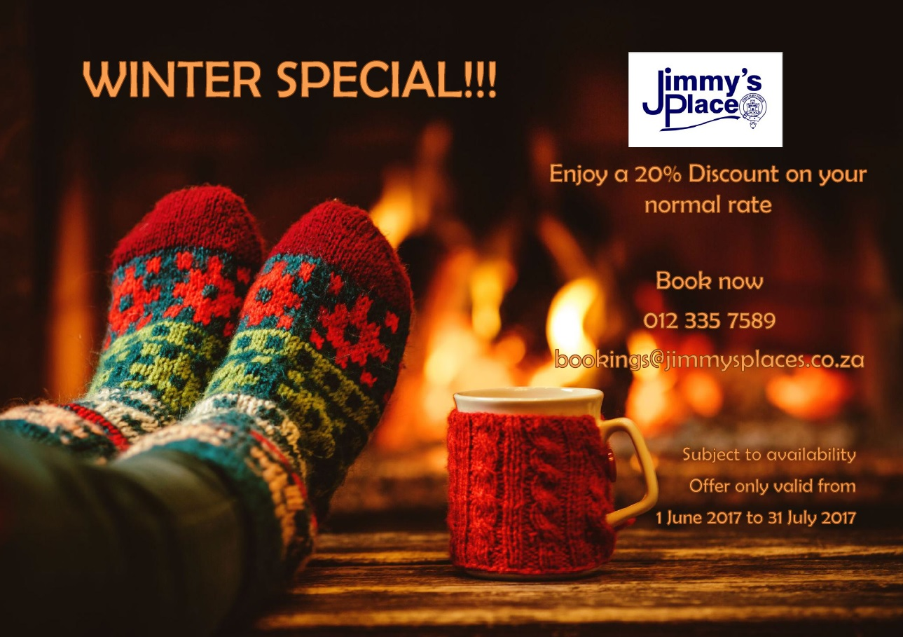 Winter Special: 20% discount on your normal rate. Book now.